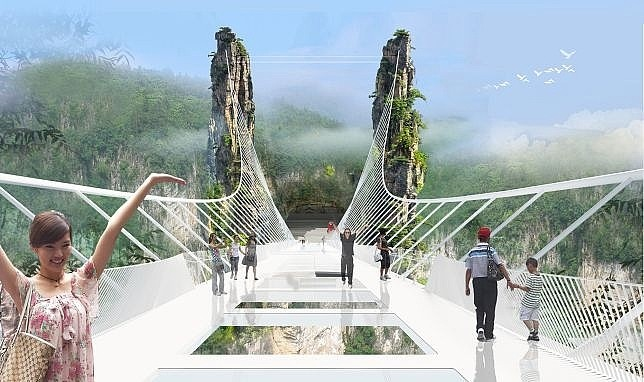 World's Longest and Highest Glass Bottom Bridge to Be Unveiled in Chinese National Park