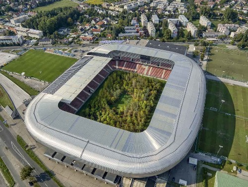 Soccer Stadium Is Filled with 300-Tree Forest to Draw Attention to Environmental Issues