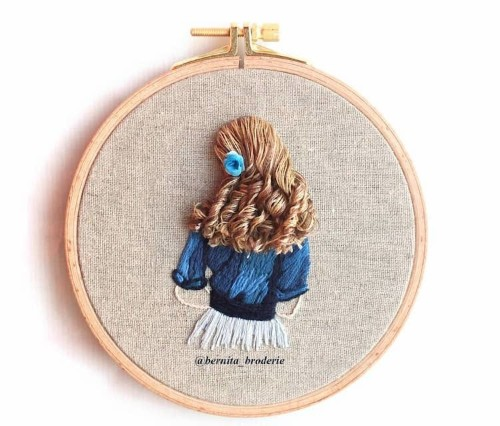 Brilliant Embroidery Uses Thread to Mimic Luscious Hair Flowing Off the Hoop