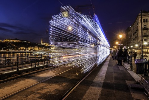 Twinkling LED Lights Make Budapest Tram Look Like it's Traveling Through Time