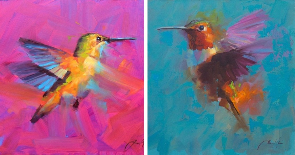 Vibrant Bird Paintings Capture the Beauty of Feathered Friends in Flight