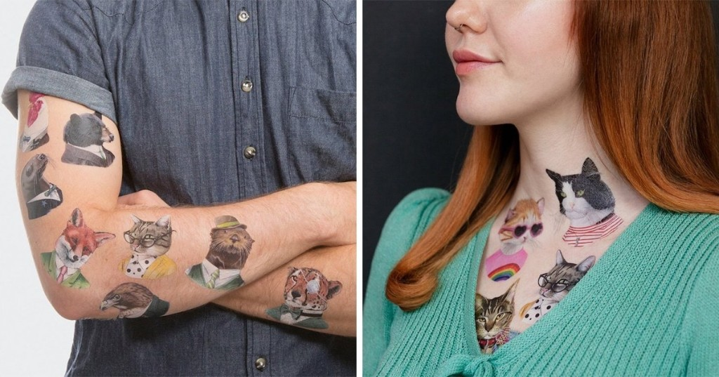 "Decorate Your Skin With These ""Pawfect"" Temporary Tattoos of Animals"
