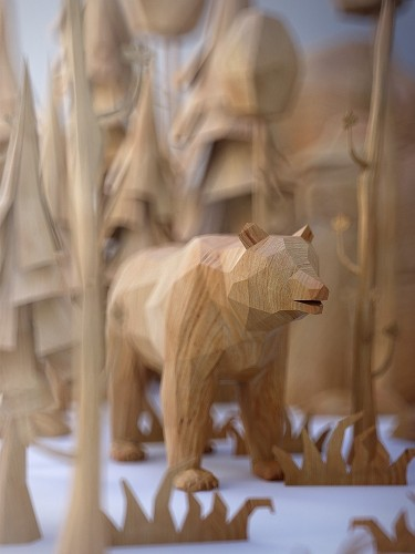 Charming Menagerie of Animals Designed as Low Poly Wood-Textured Toys