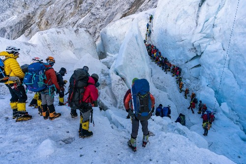 Traffic jams are just one of the problems facing climbers on Everest
