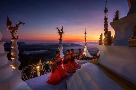 The sunrise and pagoda. Photo by Kampol Jindaprom — National Geographic Your Shot