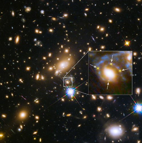 Galaxy in Front of Supernova Creates Cosmic Mirage: Einstein Cross