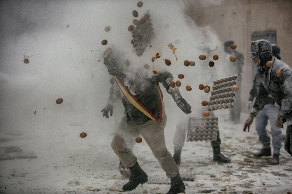 In this town, the weapons of war are flour and eggs