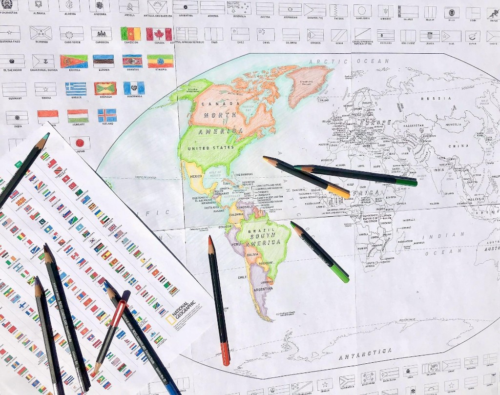 Color a world map with flags