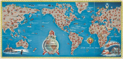 Mid-Century Map Shows Santa's Journey Around the World