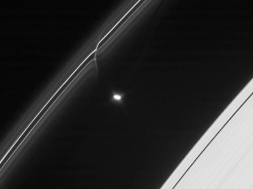 Saturn's Rings Hit by Meteor Shower