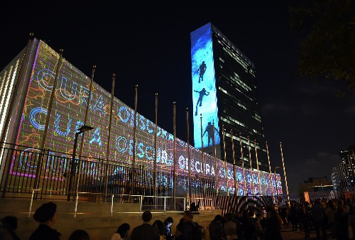 Pictures: Visualizing Climate Change's Toll—On Sides of UN Buildings