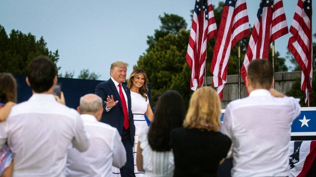 """Cutouts of J.F.K., Jr., Tanks, and Adulation at Trump's """"Salute to America"""""""