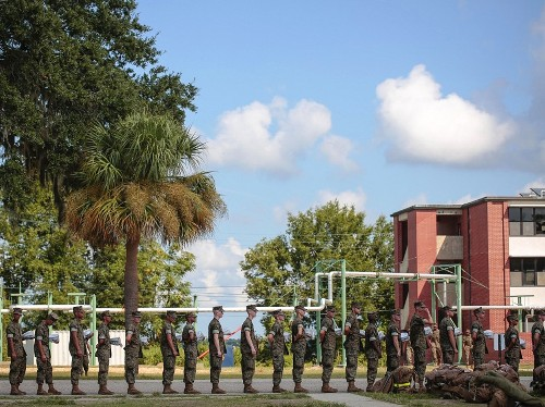 Marines Halt Recruits Going To Basic Training At Parris Island, S.C.