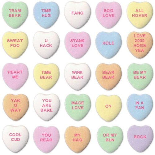 STANK LOVE, BEAR WIG, and other sayings from AI-generated candy hearts