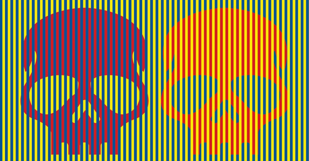 These skulls look purple and orange. They are both red.