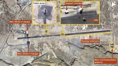 Satellite Photos Reveal Construction At Iran's Island Drone Base