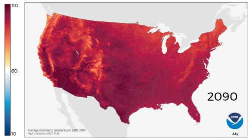 These beautiful, terrifying maps show how hot we'll get in 2090