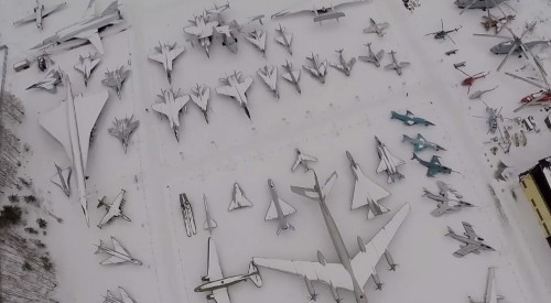 Drone Films Snowy Russian Airplane Museum