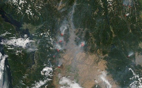 Satellite View Shows Wildfires Across Washington State