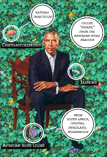 The botany in Obama's official portrait represents his history