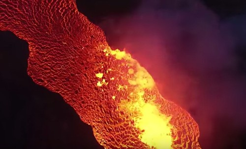 Watch Drone Footage Of A Giant Lava River