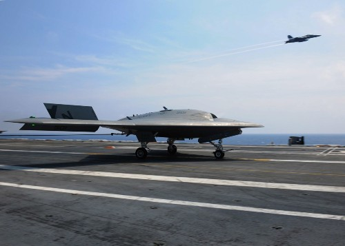 Autonomous X-47B Flies In Formation With Fighter Aircraft