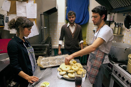 Elena Narbutaitė, Menachem Kaiser and Jake Levine, October 15, 2010, preparing bagels for the first public bagel party and presentation of the Vilnius Bagel Project. Yalta Restaurant kitchen, Vilnius, Lithuania.
