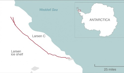 There's a new branch in the huge Antarctic ice crack