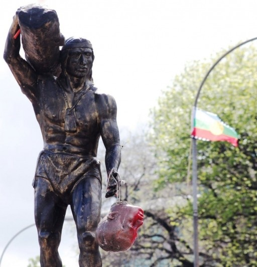 Mapuche Indigenous people in Chile take down symbols of Spanish colonization
