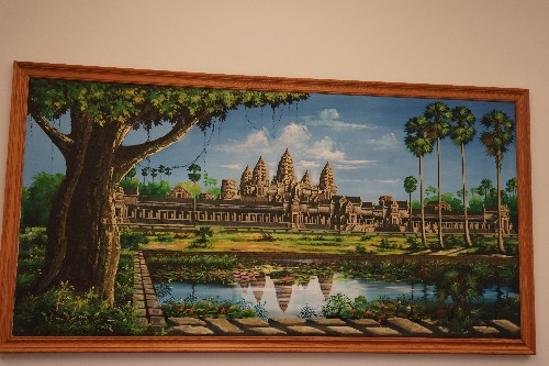 A painting of a Cambodian temple, which hangs on the walls of the Metta Health Center. The clinic is filled with Cambodian artwork, which has been haggled for in the markets of Phnom Penh.