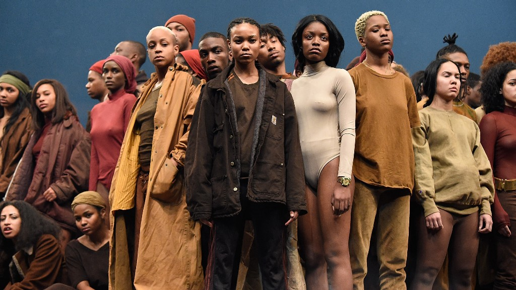 Models pose during Kanye West Yeezy Season 3 at Madison Square Garden on February 11, 2016 in New York City.