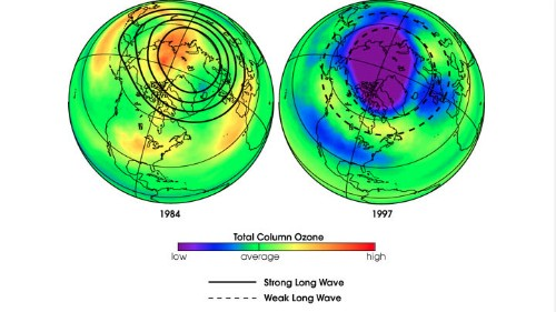 This NASA graphic shows relative average levels of atmospheric ozone over the northern hemisphere in 1984 and 1997. The lower concentrations, shown in darker colors, are due to the effects of ozone-destroying chemicals in the atmosphere.