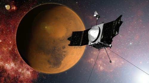 A NASA spacecraft reaches Mars just in time to see an unexpected guest