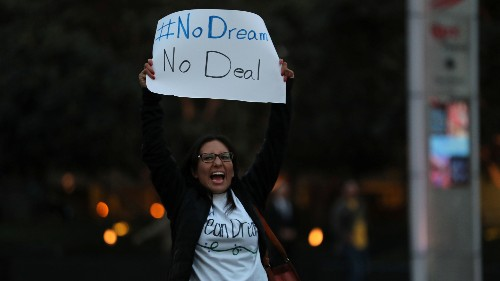 A group of demonstrators block traffic to demand action by the federal government on the Deferred Action for Childhood Arrivals (DACA) in downtown San Diego.