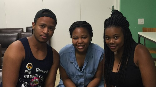 "University of Cape Town student activists Nico Nomyayi (l), Morategi Kale (c) and Zanele Kabane (r). ""Black students are tired all over the world,"" Nomyayi says."