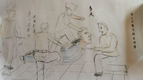 """An innocent man in China has revealed by drawings how local police tortured him into """"confessing"""""""