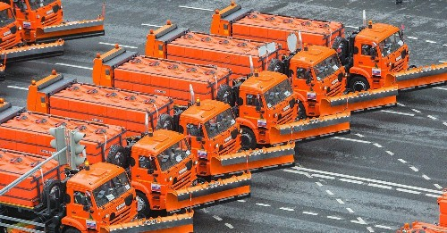 Moscow just held a parade of garbage trucks and city buses