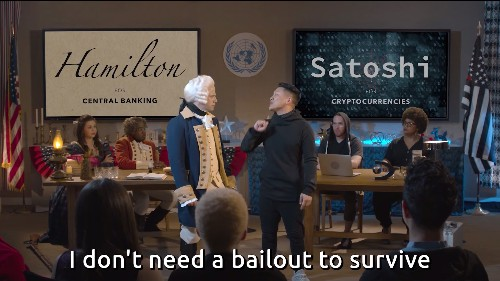 Watch: Hamilton and Satoshi Nakamoto debate bitcoin in a rap battle