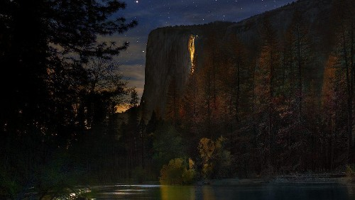 The rare phenomenon behind this fiery waterfall at Yosemite National Park