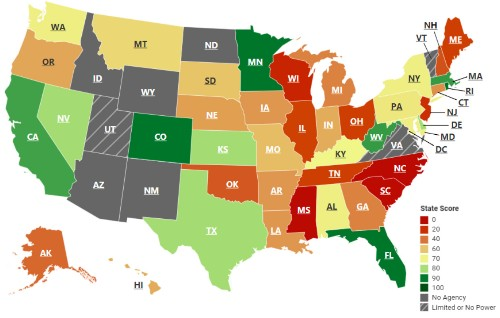 Which US state is least-equipped to fight corruption?
