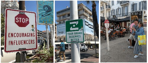 At Cannes Lions, street signs warn against influencer content