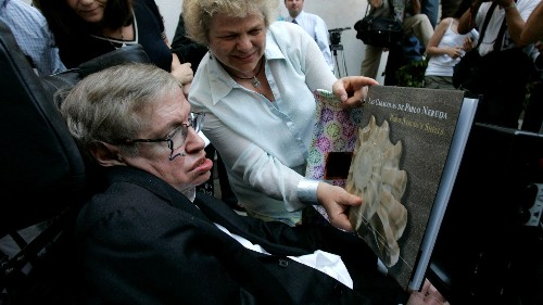 Stephen Hawking argued that humans evolve through books and not just biology