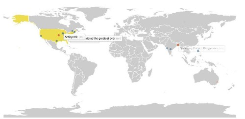 A live map shows the global frenzy of editing on Wikipedia