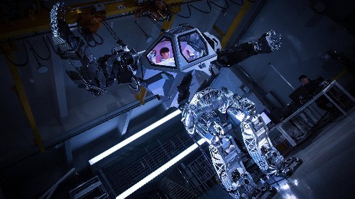 A 13-foot-tall, Avatar-like manned robot took its first steps