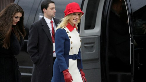 """Kellyanne Conway said her red, white, and blue Gucci coat was """"Trump revolutionary wear"""""""
