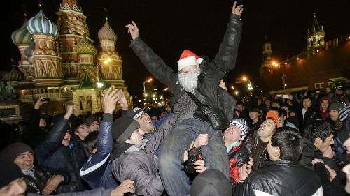 Russia parties the latest on New Year's Eve, while China and Israel turn in the earliest