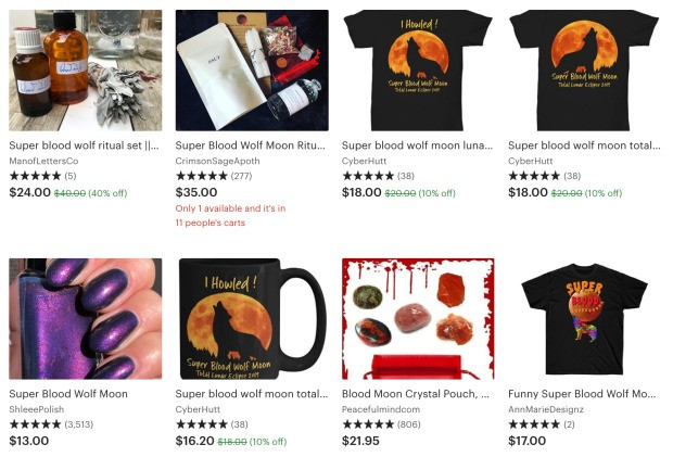 """Etsy shops are cashing in on the """"super blood wolf moon"""""""
