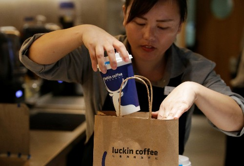 Luckin Coffee, China's unprofitable Starbucks rival, went public today and its shares are soaring