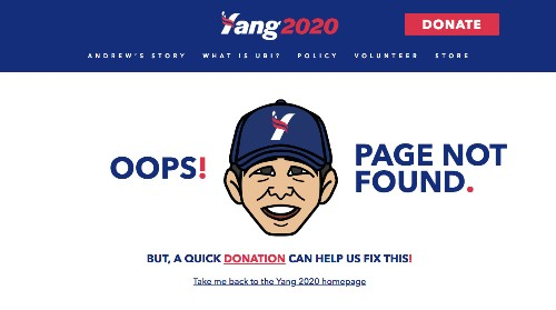 2020 candidates' 404 pages, ranked by cringe factor