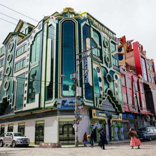 Colorful architecture is a symbol of cultural heritage in Bolivia